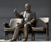 Statue of Roger Ebert in front of the Virginia Theater in Champaign, Illinois